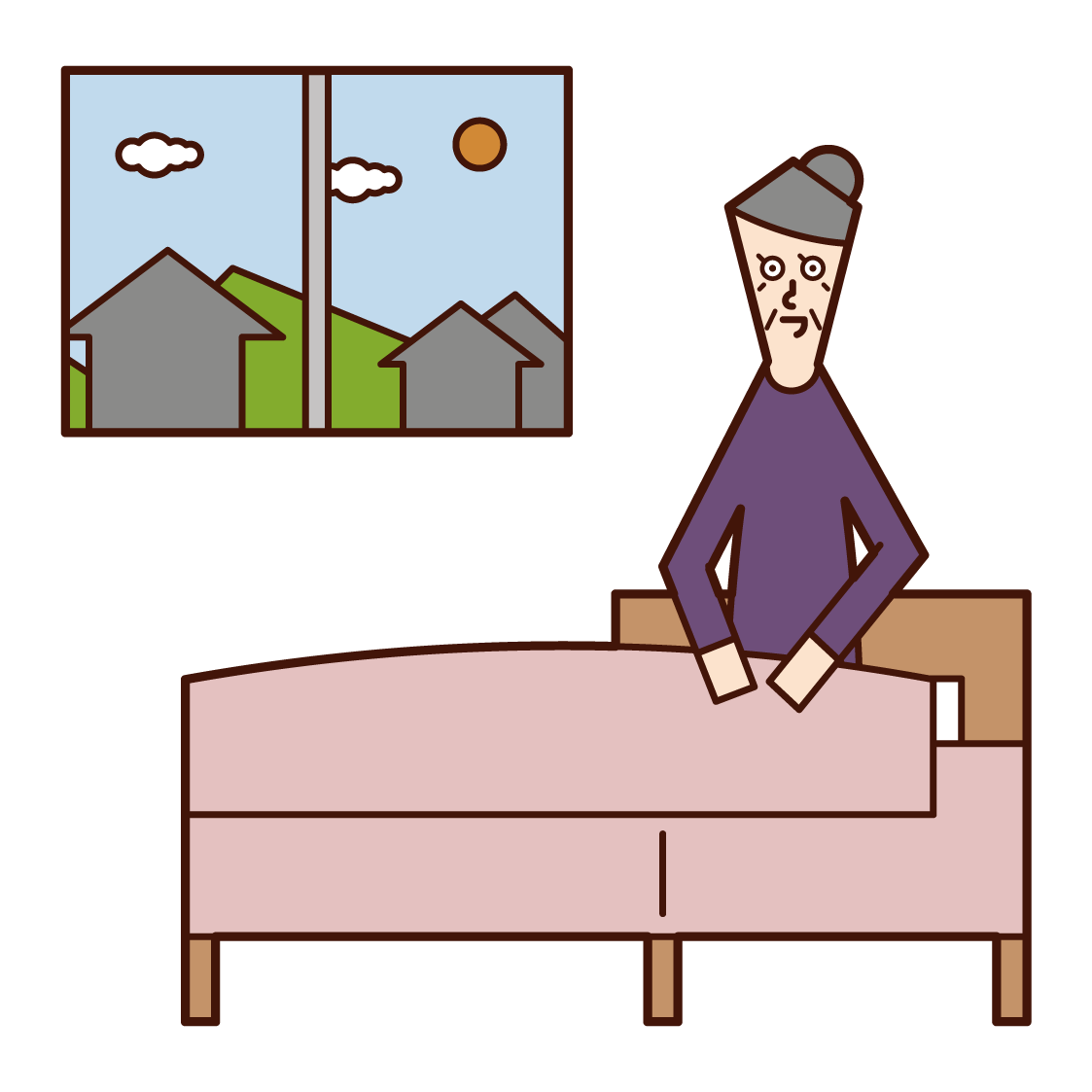 Illustration of a person (grandmother) who wakes up