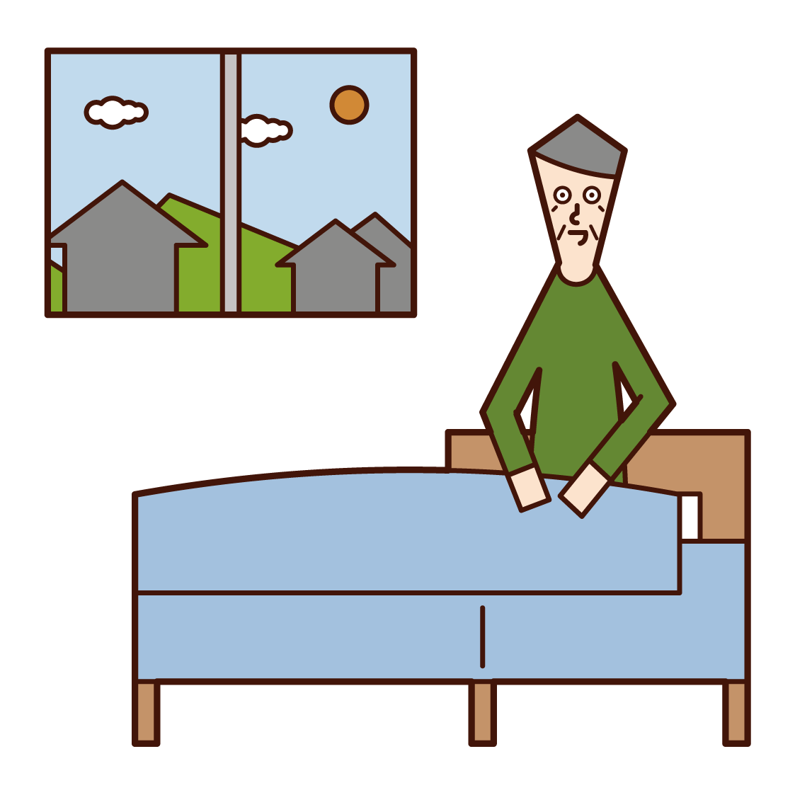 Illustration of a person (grandfather) who wakes up