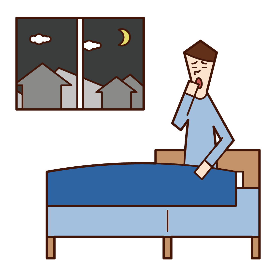 Illustration of a man going to bed