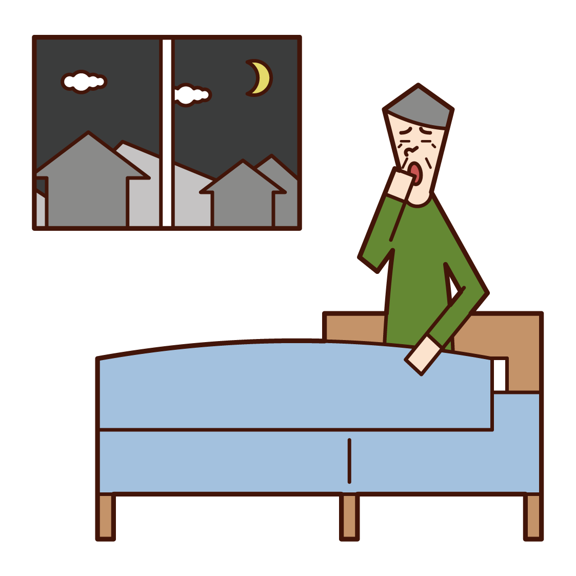 Illustration of a bedtime person (grandfather)