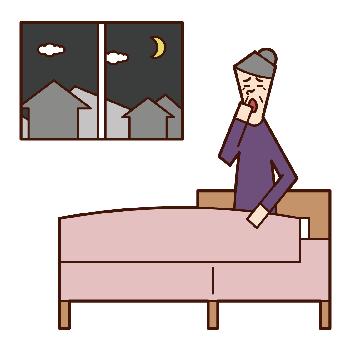 Illustration of a bedtime person (grandmother)