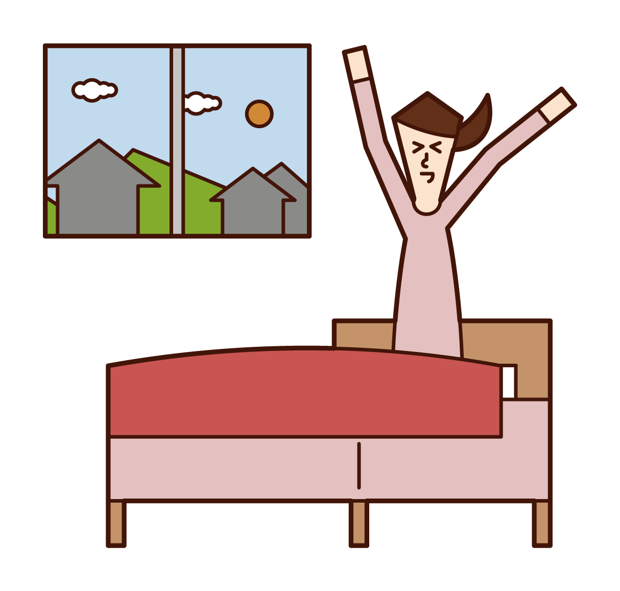 Illustration of a woman who wakes up