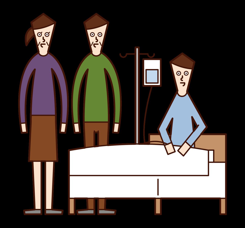 照顧住院病人的人的插圖