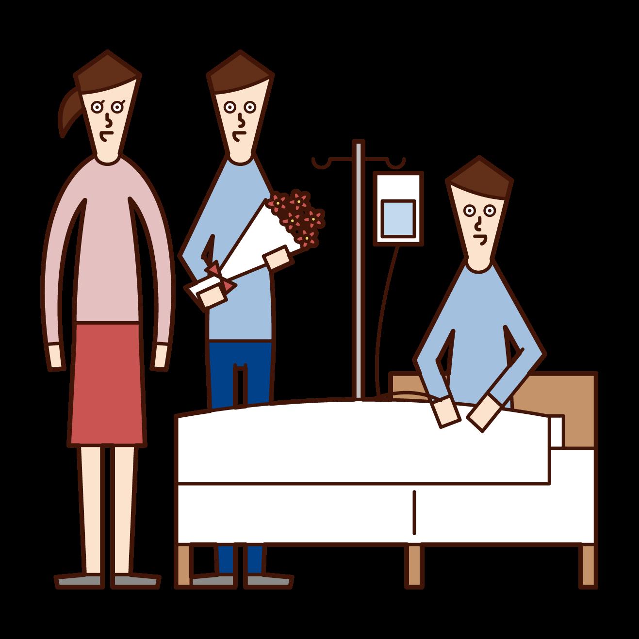 入院している男性のお見舞いをする友人夫婦のイラスト