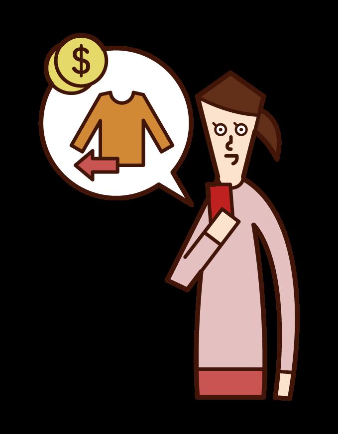 在互聯網上銷售商品的人(女性)的插圖