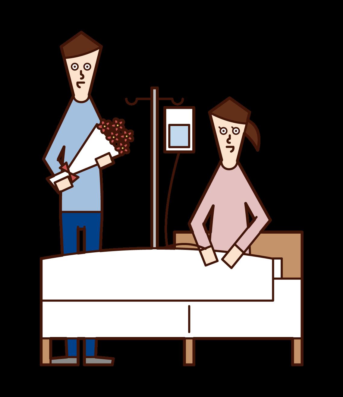 一個男性的插圖,說明誰將為住院的婦女提供慰問
