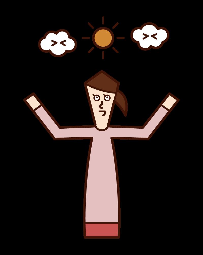 陽光明媚的女人(女性)的插圖