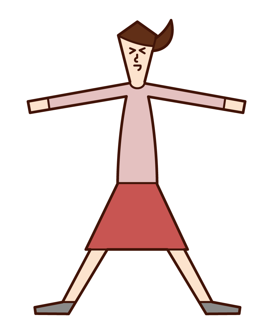 Illustration of a woman spreading his hands and legs