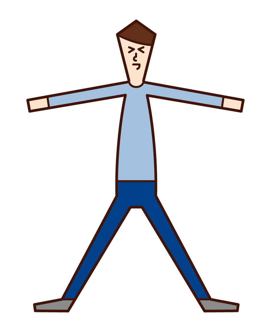 Illustration of a man (male) spreading his hands and legs