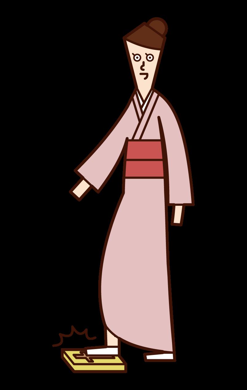 Illustration of a woman treading