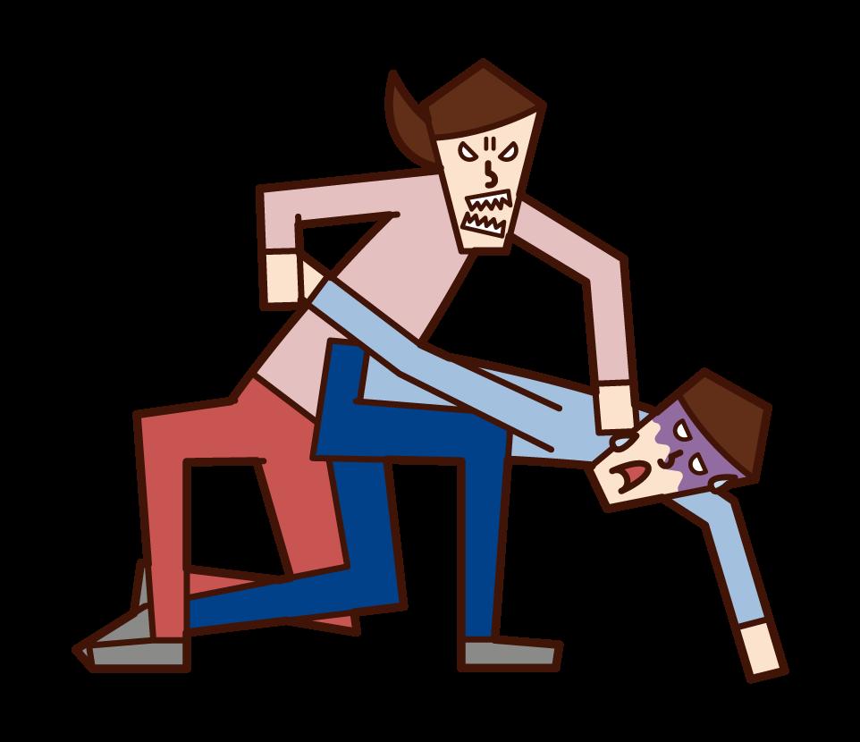 用自衛保護自己的人(女性)的插圖