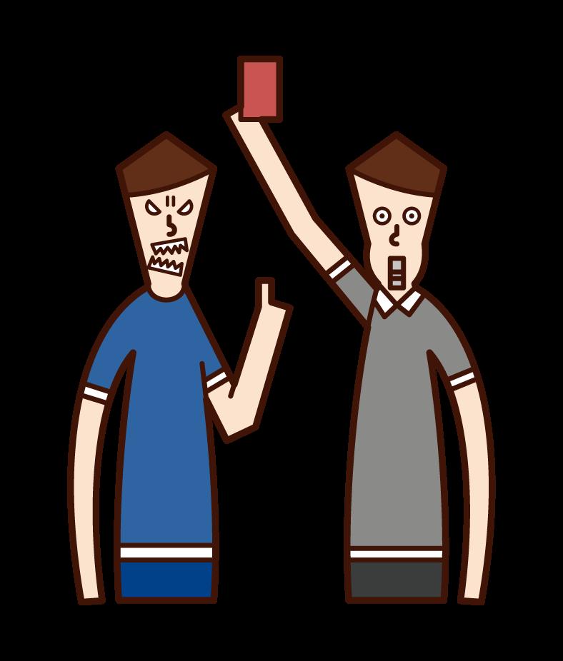 심판에 항의하는 운동 선수 (남성)의 그림