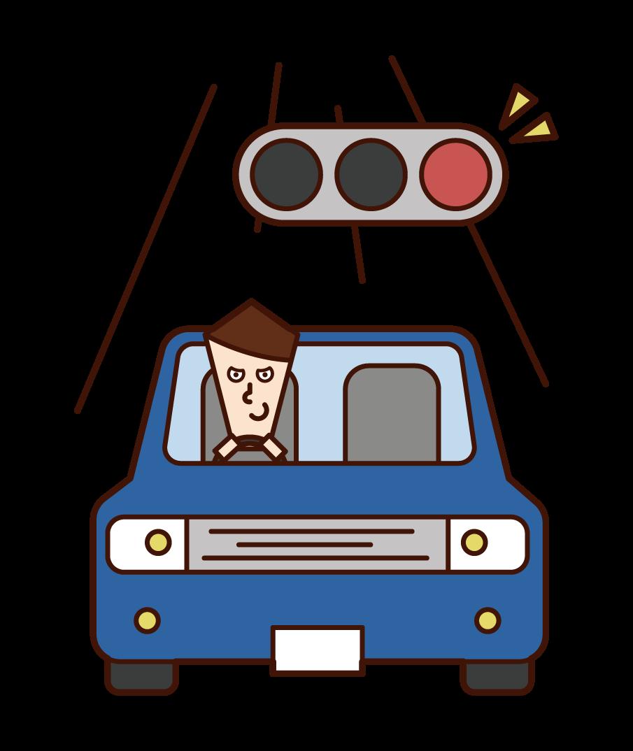 빨간 불빛을 무시하는 운전자 (남성)의 그림