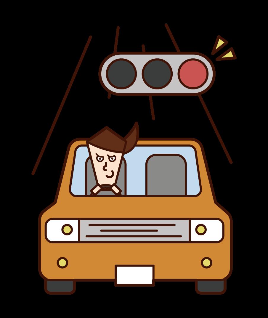 빨간 불빛을 무시한 운전자(여성)의 일러스트