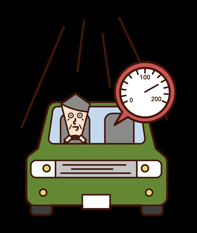 운전자 (할아버지)의 과속 그림
