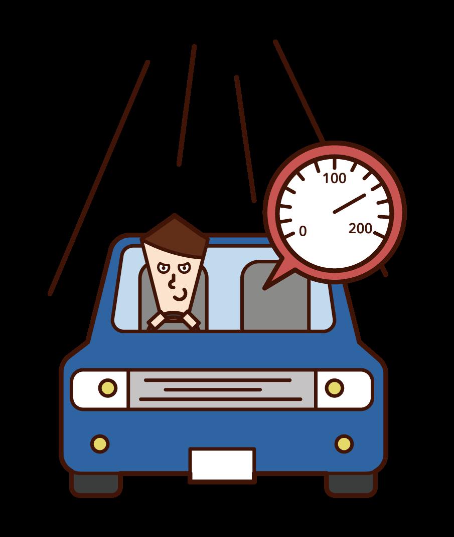 운전자 (남성)의 과속에 대한 그림