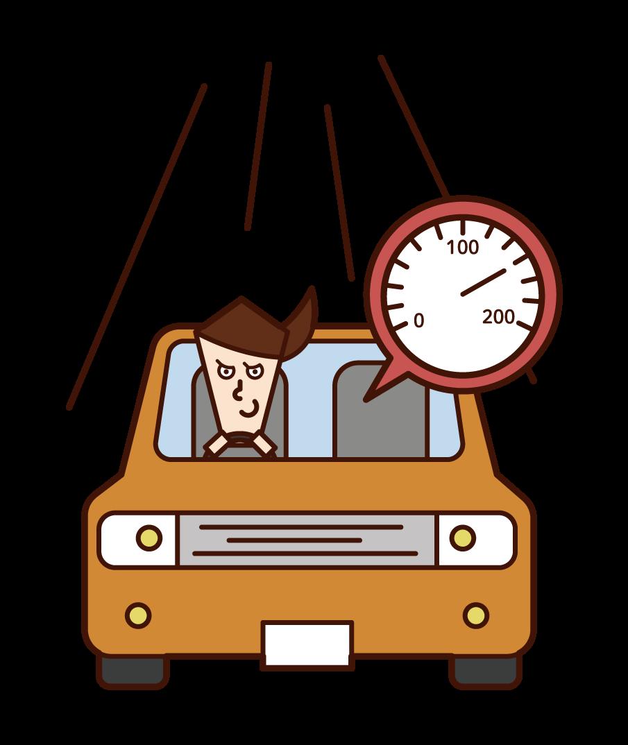 운전자 (여성)의 과속에 대한 그림