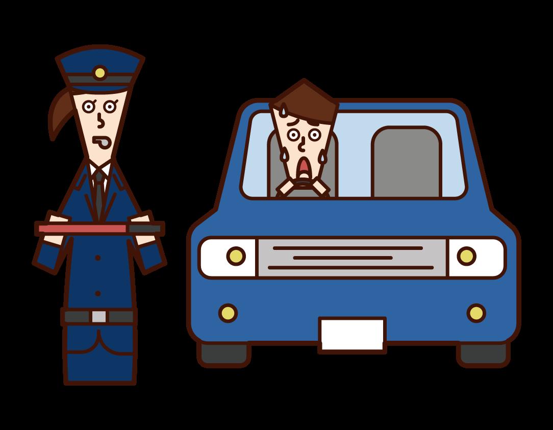경찰 (여성) 자동차의 그림에 대한 타격