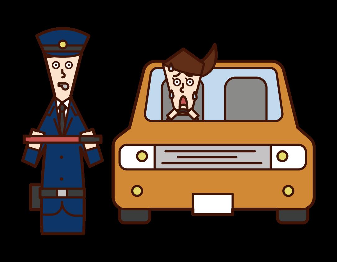 경찰 (남성) 자동차의 그림에 대한 타격