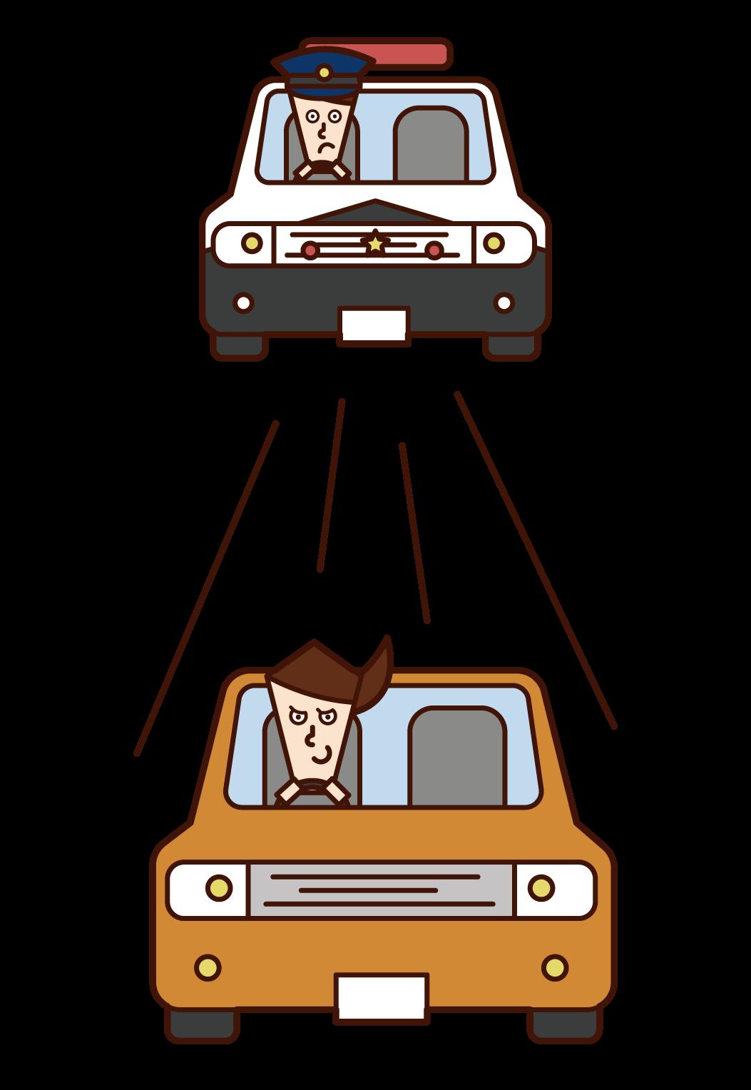 운전자 (여성)가 경찰차를 탈출하는 그림