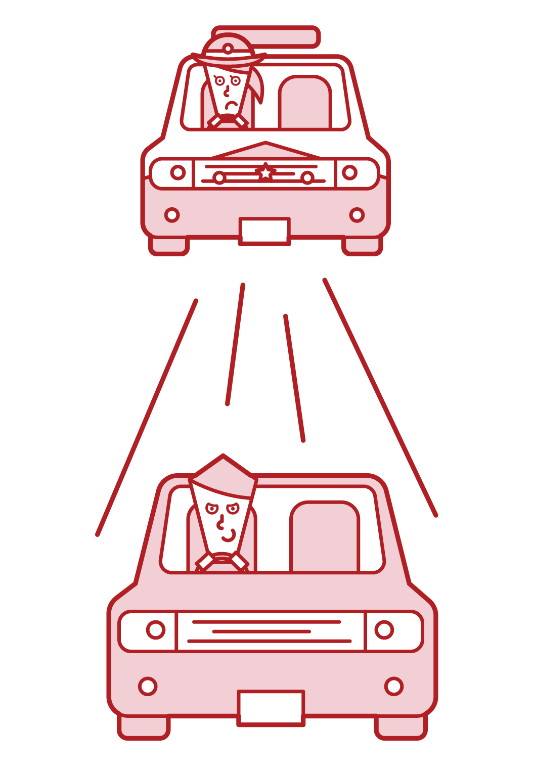 Illustration of a driver (male) fleeing a police car