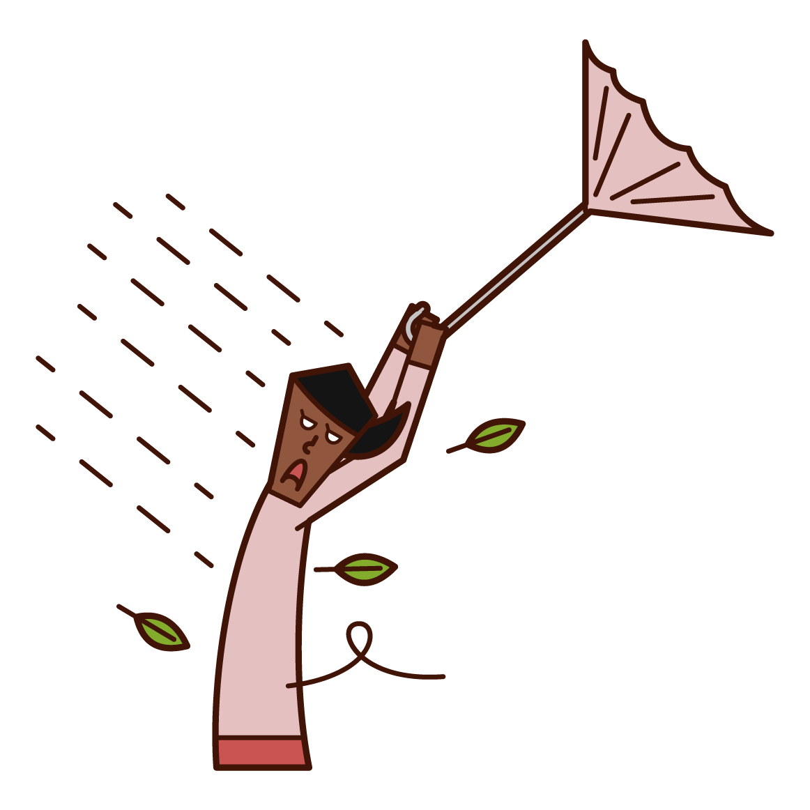 Illustration of a woman who is likely to be blown away by a strong wind