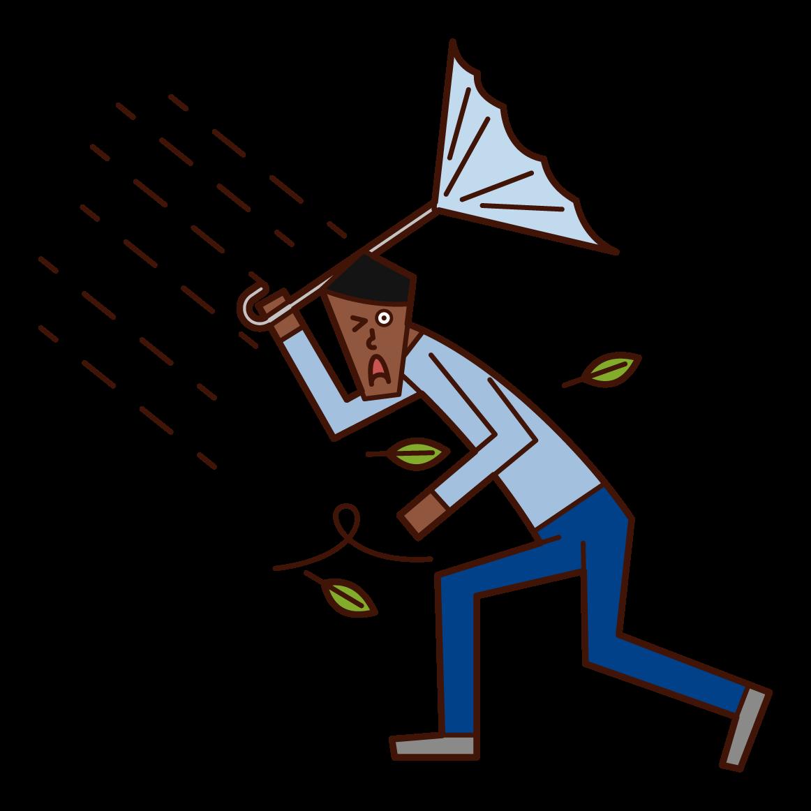 強風の中歩く人(男性)のイラスト