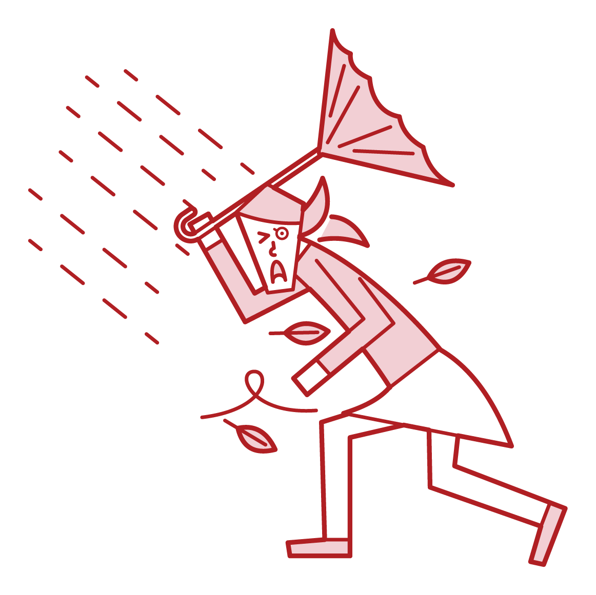 강한 바람에 걷는 사람 (여성)의 그림