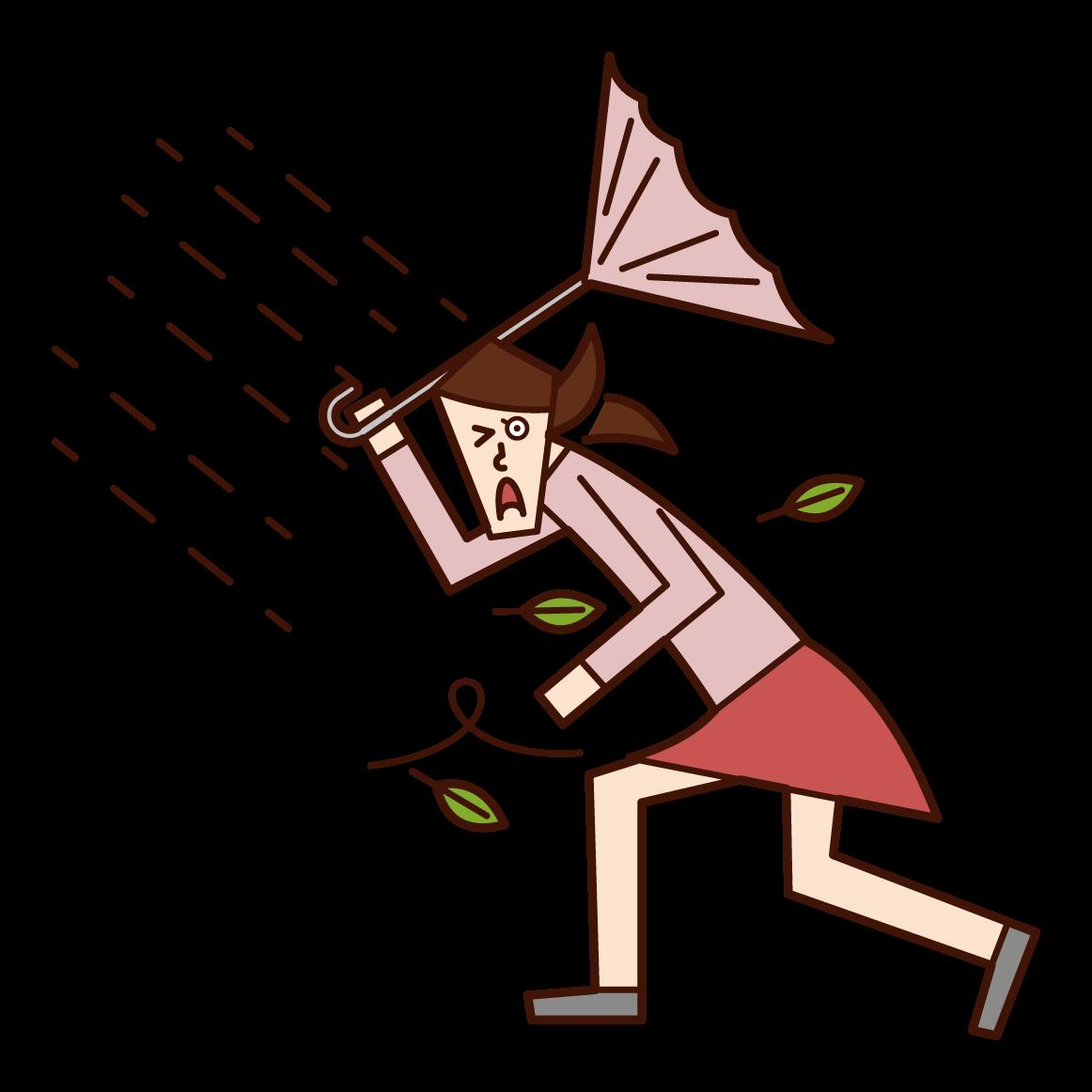 強風の中歩く人(女性)のイラスト