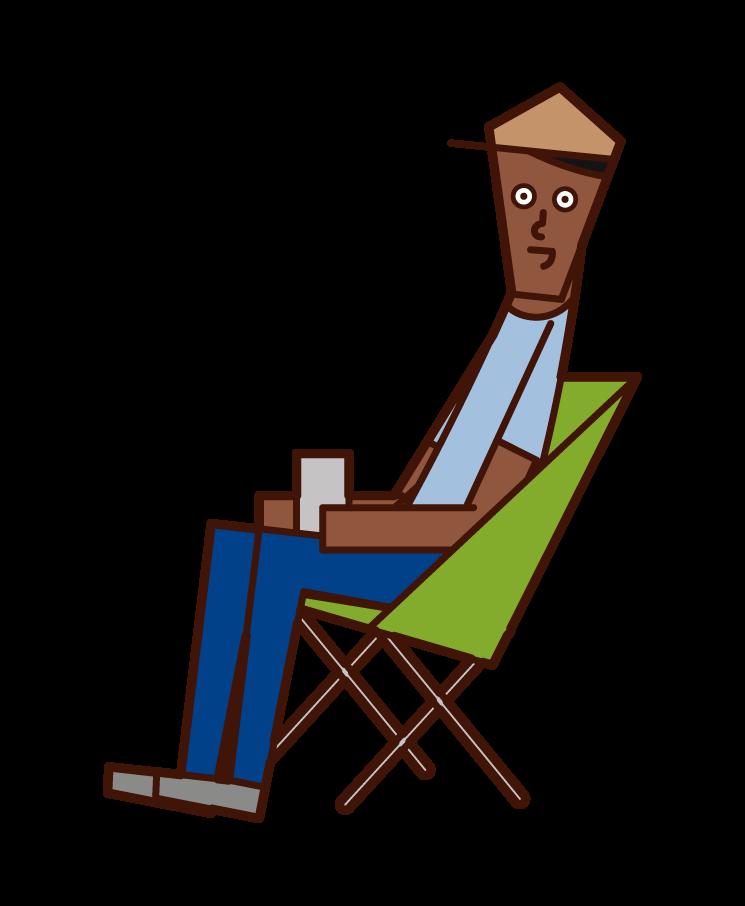 キャンプを楽しむ人(男性)のイラスト