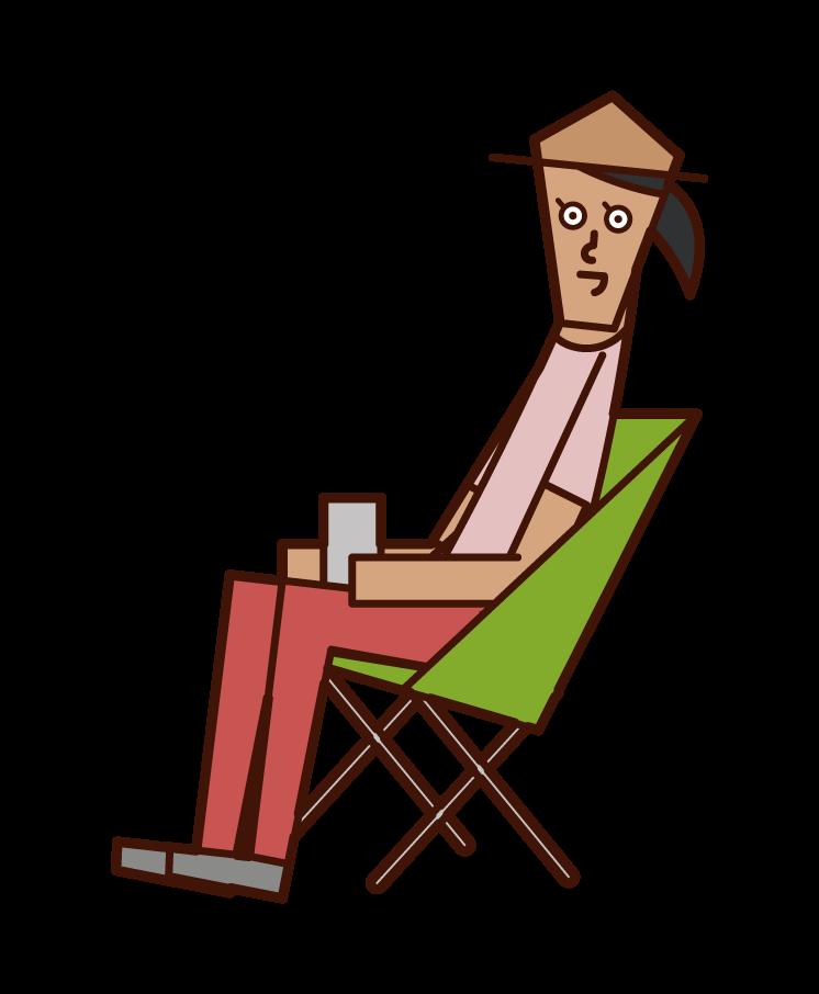 캠핑을 즐기는 사람 (여성)의 그림