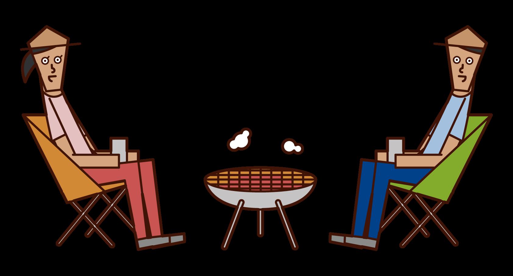一對夫婦在營地里放火的插圖