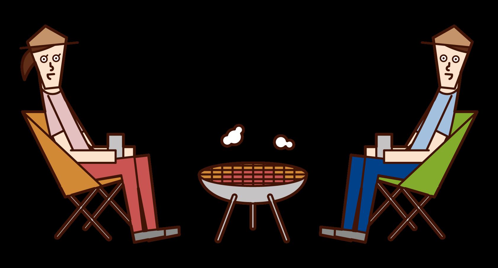 キャンプで焚火をするカップルのイラスト