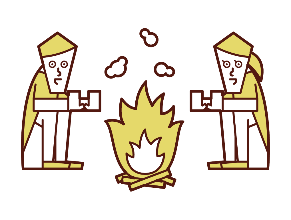 Illustration of a couple making a bonfire