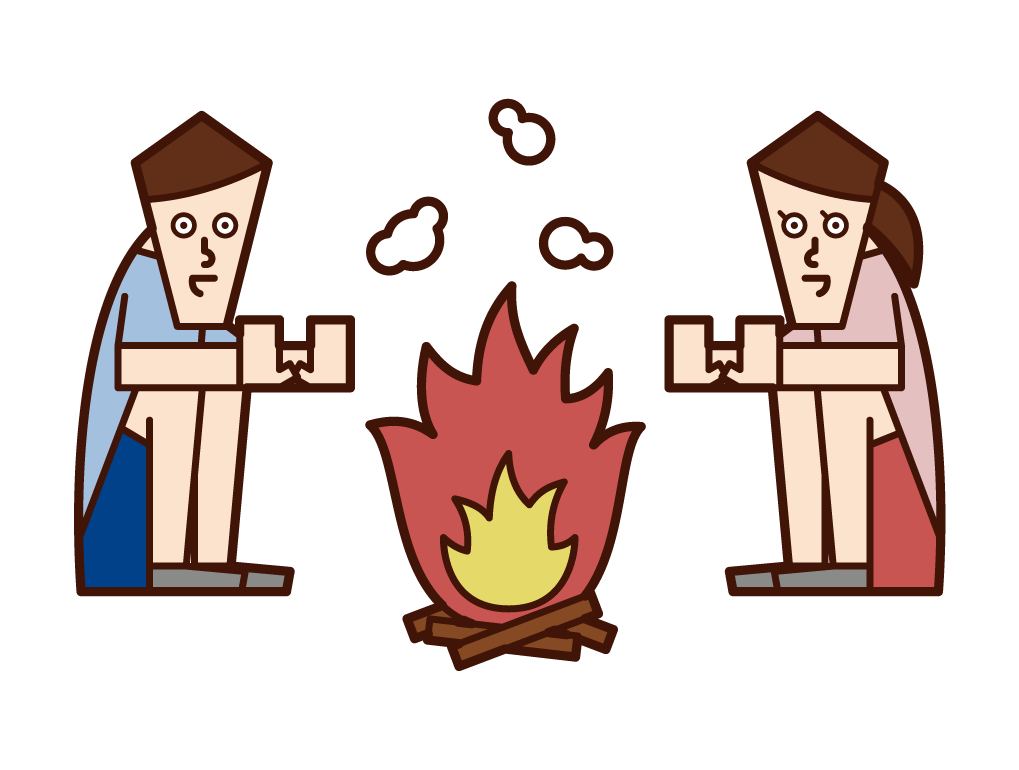 焚火をするカップルのイラスト