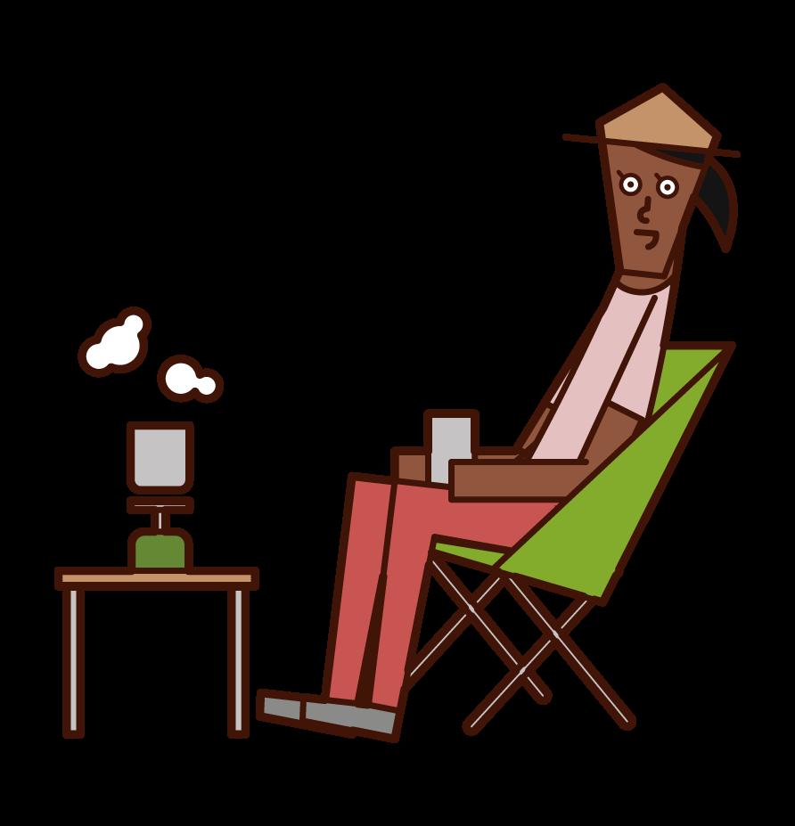 在營地喝咖啡的人(女性)的插圖