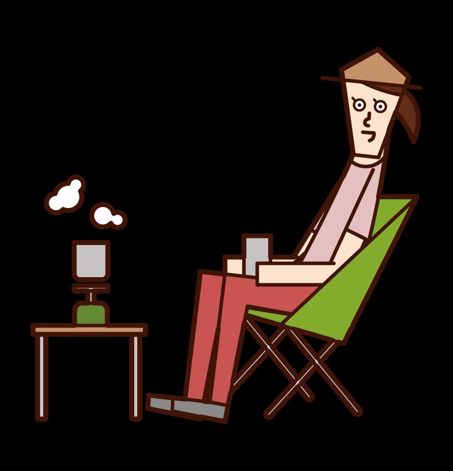 キャンプでコーヒーを飲む人(女性)のイラスト