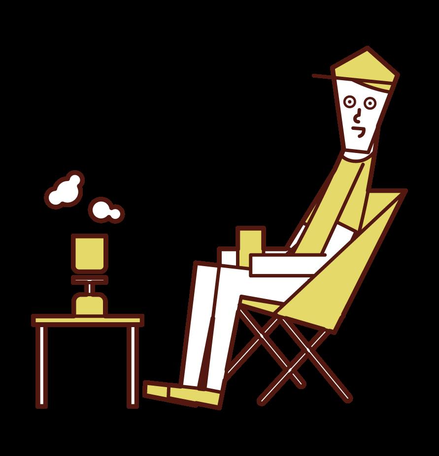 在營地喝咖啡的人的插圖