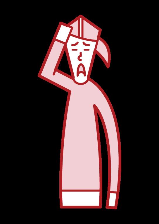 患有頭髮稀疏的人(女性)的插圖