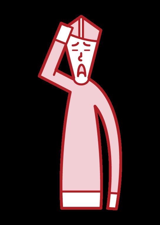 患有頭髮稀疏的人(男性)的插圖