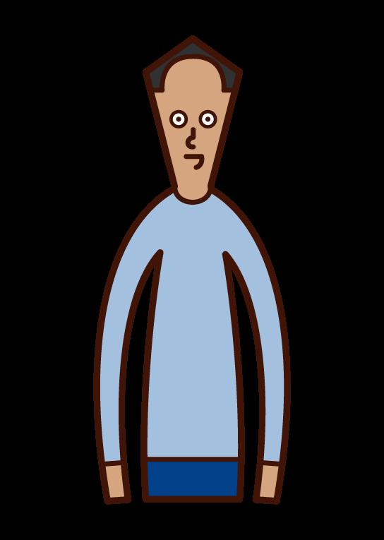 얇은 머리를 가진 사람 (남성)의 그림