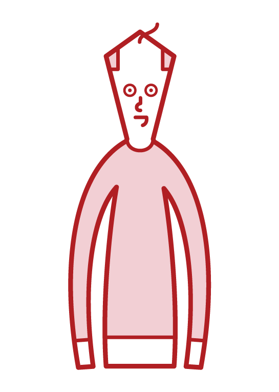 頭の薄毛に悩む人(男性)のイラスト
