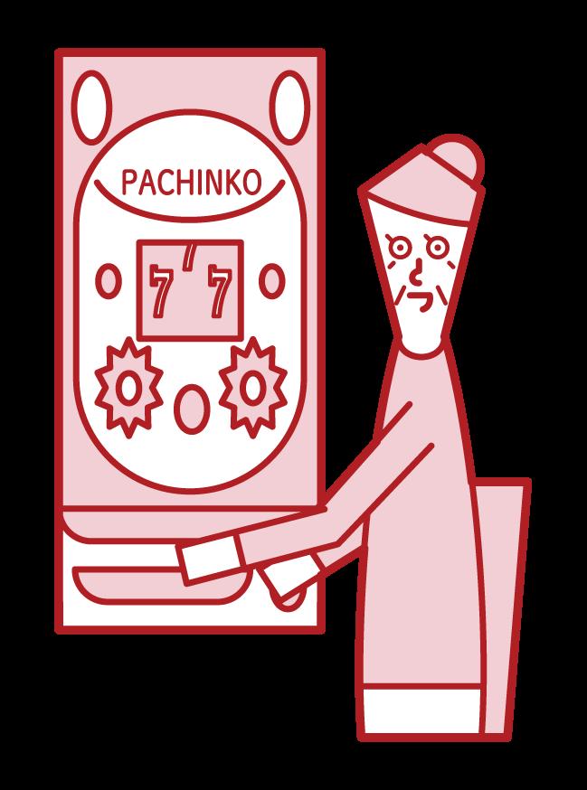享受帕欽科賭博的人(祖母)的插圖