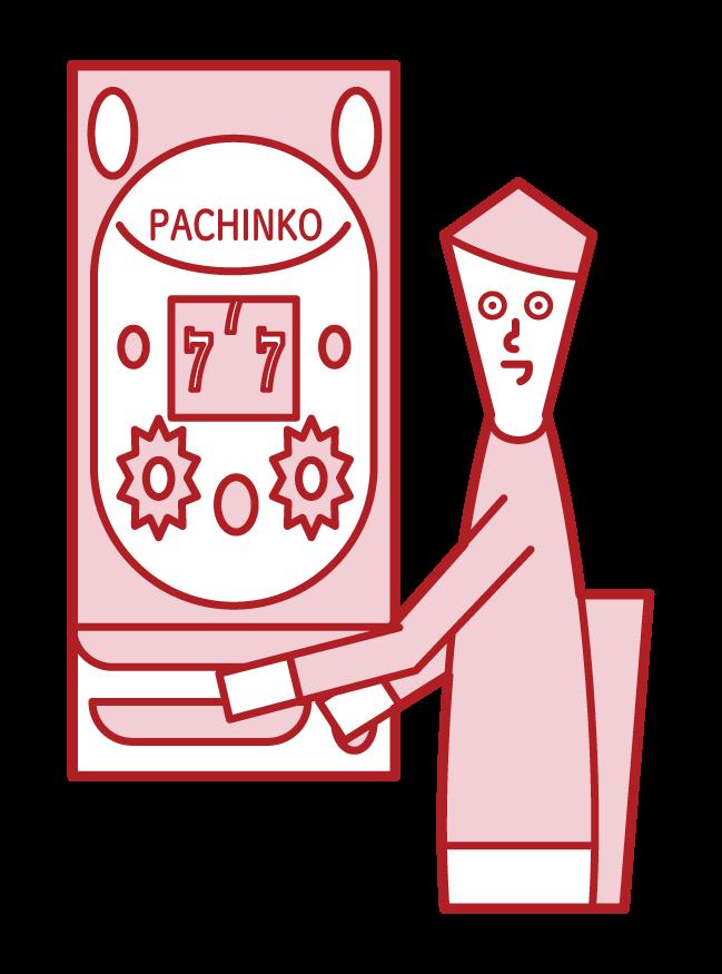 파칭코 도박을 즐기는 사람 (남성)의 그림