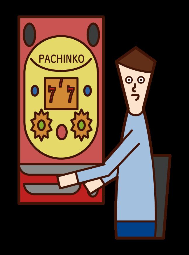 パチンコ・ギャンブルを楽しむ人(男性)のイラスト