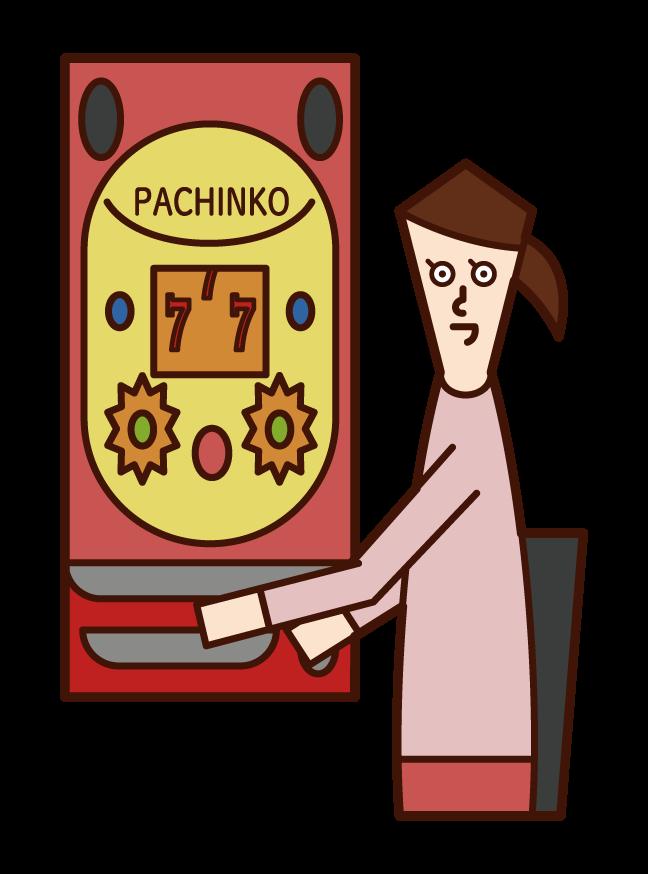 享受帕欽科賭博的人(女性)的插圖