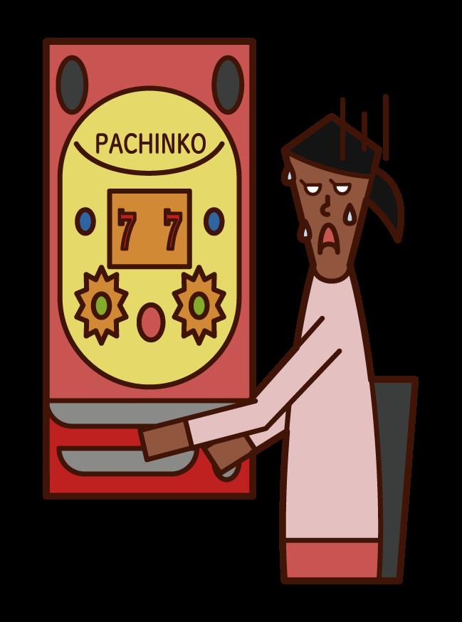 パチンコ・ギャンブルで負けた人(女性)のイラスト