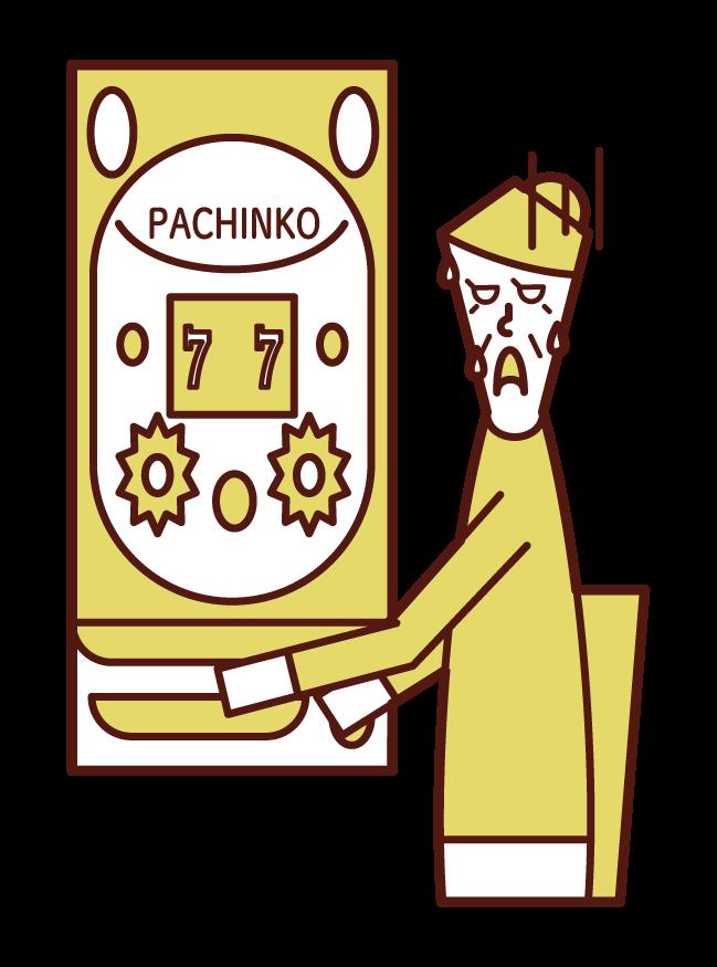 在帕欽科賭博中失敗的人(祖母)的插圖