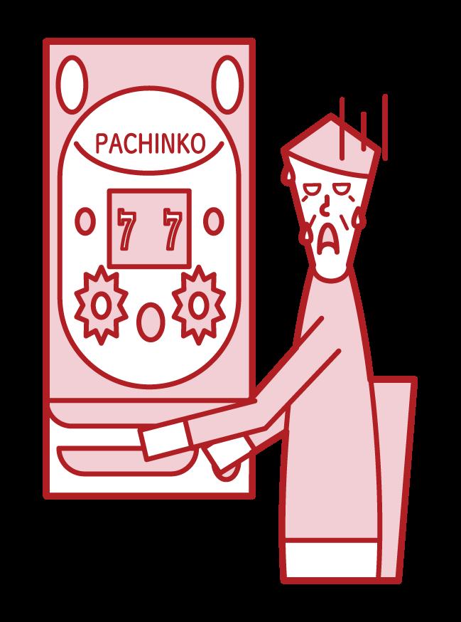 在帕欽科賭博中失敗的人的插圖