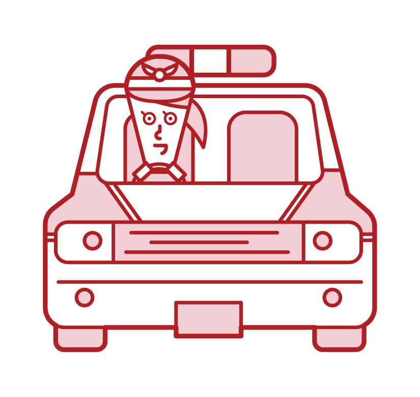 Korean police car and police officer (woman) illustration